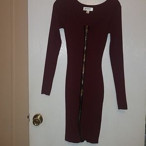 Sexy Zipper Up Bodycon Marroon Dress Sz M